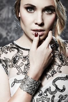 "Leah Pipes from the show the ""Originals"" wearing Venice Cuff, Sterling Silver Plated"