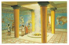 Reconstruction of the Mycenaean palace of Tiryns' megaron, circa, 1300 BC. (Peter Connolly/Ancient Greece/user: Aethon) (Comment by original pinner. Greek History, Ancient History, European History, Ancient Aliens, American History, Turm Von Babylon, Minoan Art, Bronze Age Civilization, Classical Greece