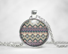 Tan Navy Aztec Tribal Pendant Round Charm Necklace Custom Silver Plated Jewelry