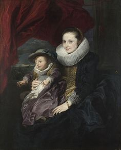 Anthony van Dyck, 'Portrait of a Woman and Child' ca 1620-21: The most striking feature of this painting is the masterful depiction of the colourful dresses.
