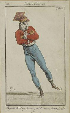 """Costume Parisien, 1813 """" Cosquelle de Drap, spencer garni d'Astrakhan Belles fourres"""""""