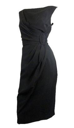 Draped Black Crepe Rayon Cocktail Dress circa 1960s Lee Claire - Dorothea's Closet Vintage