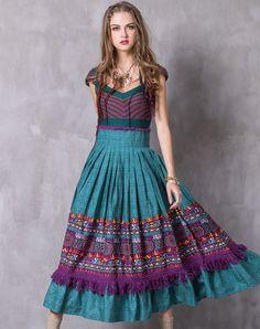 #AdoreWe #VIPme Swing Dresses - Designer KEQW Green Vintage Paneled Ruffles Fringed Swing Dress - AdoreWe.com