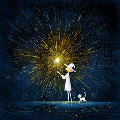 """In the river of stars, we wait for each other in endless time."" ""Endless Time"" by minayuyu 小油画 / Little Oil Art Drawing Sky, Drawing Stars, Drawings Of Stars, Cat Light, Light Art, Cartoon Drawings, Cute Drawings, How To Draw Fireworks, Anime Witch"