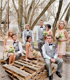 gray and peach bridal party