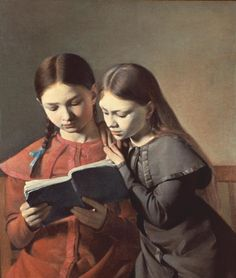 """books0977:  The Artist's Sisters Signe and Henriette Reading a Book (1826). Constantin Hansen (1804-1880). Oil on canvas. Nordiska Muséet. Hansen often used his sisters and friends as models; using simple costumes, poses and compositions, he managed to endow his pictures with the intimacy and warmth that mark the Danish Golden Age. The Artist's Sisters Signe and Henriette Reading a Book is a fine example of his combination of natural observation with Neo-classical idealization.   """