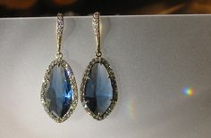 Abstract Blue Sapphire and Gold Crystal Earrings