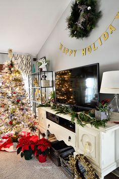 christmas holiday home tour at tidymomnet tv stand christmas decor magical christmas - Christmas Tv Decoration