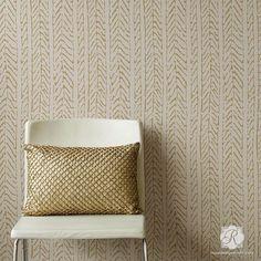 Modern Fibers Wall Stencils - Woven Texture Designs for Painting Walls | Royal Design Studio Stencils