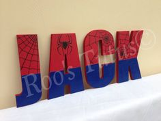 Spiderman inspired hand painted wooden letters by ItsRoosTutus
