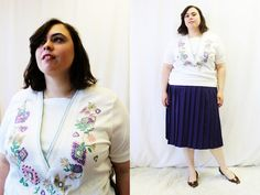 Plus Size - Vintage Cream Floral V-Neck Cuffed Shirt (Size XL 16/18) by TheCurvyElle
