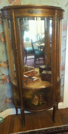 Antique Vintage French Neoclassical Vitrine Curio Display Cabinet Ormulu