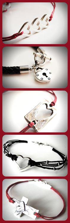 Heart bracelets! ...from JewelryByMaeBee on Etsy.