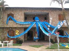 polvo de balotilde;es gigante Ocean Party, Shark Party, Underwater Party, Qualatex Balloons, Prom Decor, Little Mermaid Parties, Luau Birthday, Under The Sea Party, Baby Party