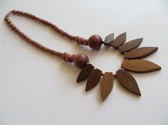 Wooden Beaded Petal Necklace by RoniSeaVintage on Etsy, $14.50