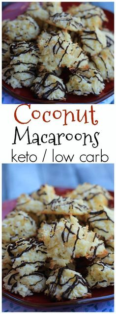 Keto coconut macaroons with chocolate drizzle recipe