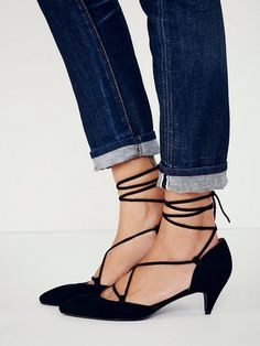 Jeffrey Campbell + Free People Andra Kitten Heels in Black