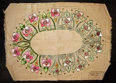 Circa 1910 ART NOUVEAU Embroidered Textile - Arts & Crafts - unfinished 33 x 24. $69.00, via Etsy.