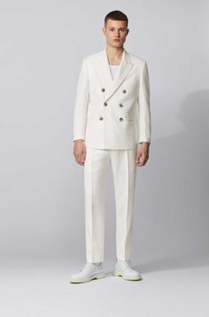 Wedding Men, Wedding Attire, White Suits, Hugo Boss Man, Costume, Double Breasted Jacket, Fitted Suit, Men Street, White Fashion
