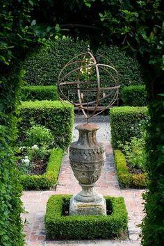 Formal garden with armillary sphere -- Dominique Lafourcade