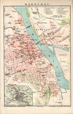 1898 Warsaw Map Antique Print Vintage Lithograph by Craftissimo Warsaw Poland, Delhi City, Copenhagen City, Old Maps, Historical Maps, City Maps, Antique Prints, Cartography, Frames