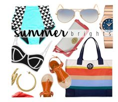 """""""Playa"""" by jomashop ❤ liked on Polyvore featuring Tory Burch, OMEGA, Ray-Ban, South Beach, Urban Decay, Charlotte Olympia and beach"""