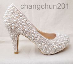 Party queen pearls high heels cream pearl Wedding by changchun201, $79.00