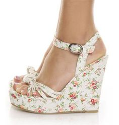 Chinese Laundry shoes > retro vintage wedges. Delicate floral pattern . . . very feminine!