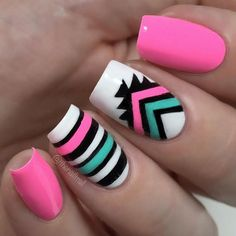 Aztec print color block mani