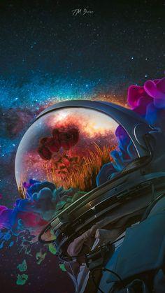 Astronaut Rose Art iPhone Wallpaper - iPhone Wallpapers