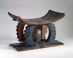 Africa | Royal Stool from the Asante people of Ghana | Wood and silver | ca. 1860