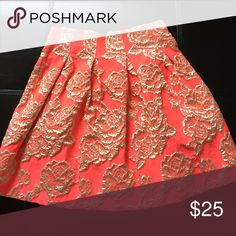 Size small coral and gold skater skirt Back zip lined Skirts Circle & Skater