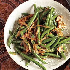 Holiday Sides | Green Beans with Caramelized Onions and Walnuts | CookingLight.com