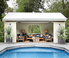 At whatever point you're in a poolside or at the shoreline, a standout amongst the best approaches to unwind is to lie on a pool lounge seat. Pool lounge chairs are dependably a decent thing to have, on the grounds… Continue Reading → Pool Gazebo, Backyard Pool Landscaping, Backyard Pool Designs, Swimming Pools Backyard, Swimming Pool Designs, Small Pool Houses, Small Pools, Small Backyards, Pool House Shed