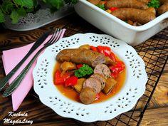 Biała kiełbasa z warzywami pieczona w piwie Pot Roast, Sausage, Meat, Ethnic Recipes, Food, Carne Asada, Roast Beef, Sausages, Essen