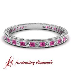 Round Cut Diamond & Princess Pink Sapphire Anniversary Band In Channel Setting