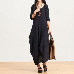 Dark Blue Irregular Linen Dress