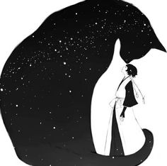 Illustration by Soi Fon. Art And Illustration, Cat Illustrations, I Love Cats, Crazy Cats, Gatos Cats, Cat Drawing, Bleach Drawing, Silhouettes, Anime Art