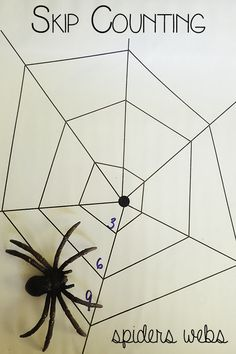 Skip Counting Spiders web - math for elementary students to help with skip counting