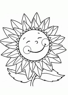 Little Sunflower Smiling Coloring Page For Kids Flower Pages Printables Free