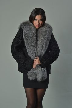 35441a561dd Luxury gift Black Persian Lamb Coat with fox collar   Wedding