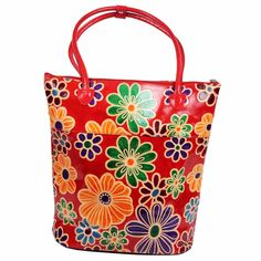 Real Leather Boho India Shantiniketan Tote Bag Tooled Painted Floral Summer Red #Handmade #TotesShoppers