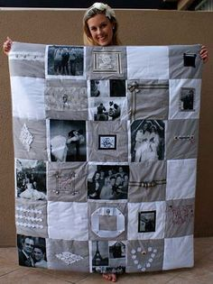DIY Photo Memory Quilt - Find Fun Art Projects to Do at Home and Arts and Crafts Ideas Cute Crafts, Crafts To Do, Arts And Crafts, Fabric Crafts, Sewing Crafts, Sewing Projects, Patchwork Quilting, Quilting Ideas, Foto Quilts
