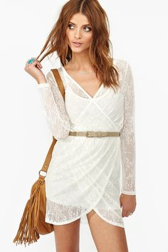 Lace Wrap Dress. Cute with colored tights and boots this fall.