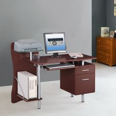 This Techni Mobili Computer Desk adds convenience and style to your work space. This desk has plenty of room for your computer, printer, hanging files, and much more. With multiple compartments for storag Printer Storage, Printer Shelf, Storage Drawers, Storage Shelves, Desk With Keyboard Tray, Computer Desk With Hutch, Desk Hutch, Computer Desks, Tempered Glass Shelves