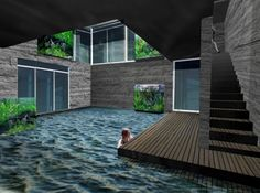 """underground house with pool--I'm not a big """"dream mansion"""" pinner but this is pretty damn cool."""