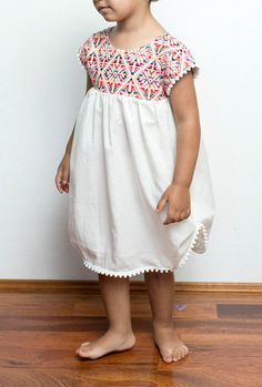 Handmade Mexican Style Pom Pom Dress | MayaAndMe on Etsy
