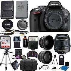 Nikon D5200 24.1 MP CMOS Digital SLR Camera (Black) 18-55mm f/3.5-5.6G VR AF-S DX Zoom Autofocus Lens + 2x Professional Lens + HD Wide Angle Lens + 16GB Bundle International Version (No Warranty)   shopswell