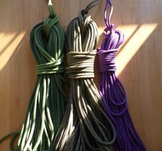 Climbing rope quiver in the morning light... 60m 10.1 workhorse, 60m 9.8 all-around, 60m 9.1 skinny