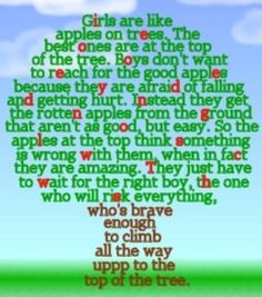 girls are like apples. Brave enough to pick my wife, and some VERY GOOD words of advice for lil sis Phinn :)